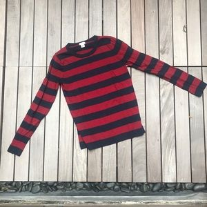 J. Crew | Navy & Red Striped Knit Long Sleeve Top
